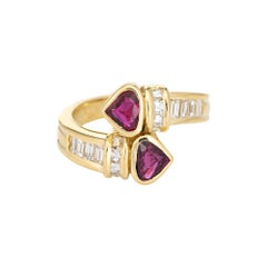 Vintage Ruby Diamond Bypass Ring 18k Yellow Gold Moi et Toi Band Fine Jewelry