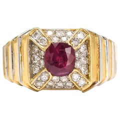 Vintage Ruby Diamond Cross Cluster Ring