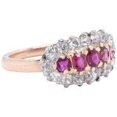 Vintage Ruby Diamond Five-Stone 18 Karat Gold Cluster Ring