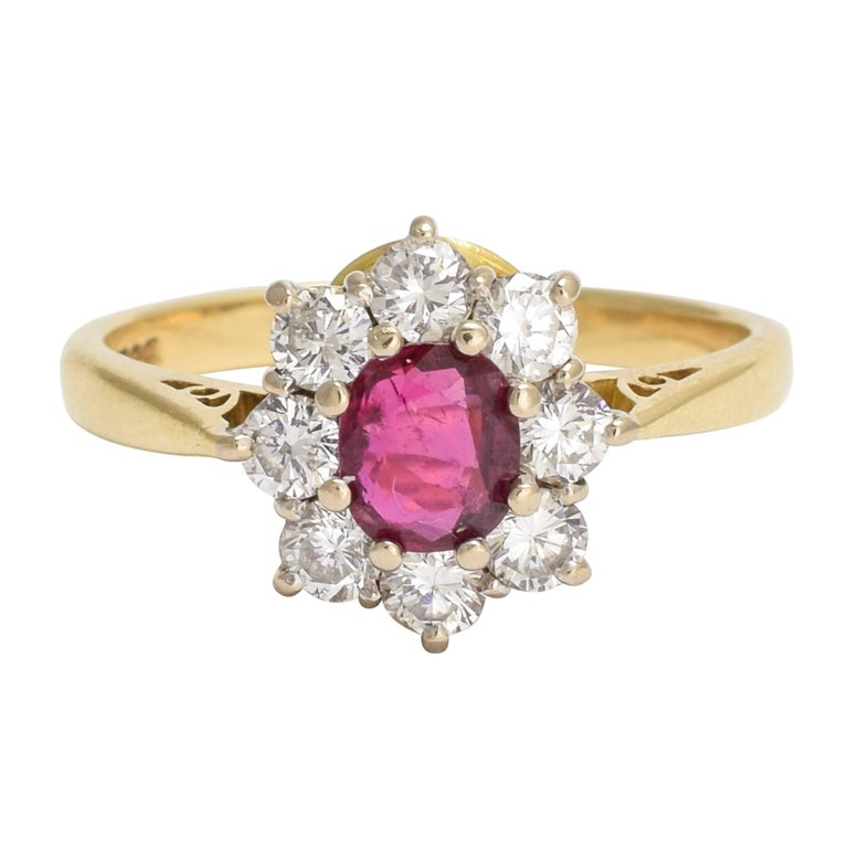 Vintage Ruby Diamond Flower Cluster Ring