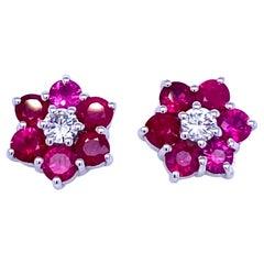 Vintage Ruby Diamond Gold Cluster Stud Earrings