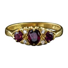 Vintage Ruby Diamond Gypsy Trilogy Ring 18 Carat Gold, London, 1972