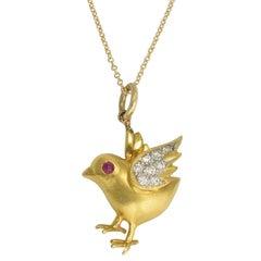 Vintage Ruby Diamond Spring Chicken Charm Pendant