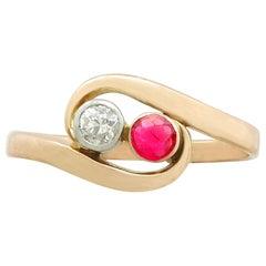 Vintage Ruby Diamond Yellow Gold Twist Ring