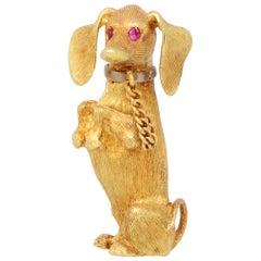 Vintage Ruby Eyed Dachshund Dog Brooch Set in 18k Yellow Gold