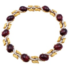 Vintage Ruby Faux Glass Necklace 1960's