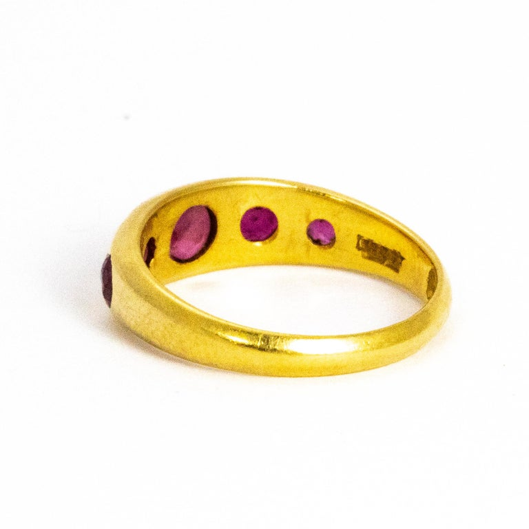 Modern Vintage Ruby Five-Stone 18 Carat Gold Band For Sale