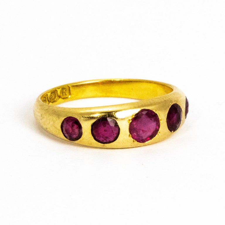Women's or Men's Vintage Ruby Five-Stone 18 Carat Gold Band For Sale