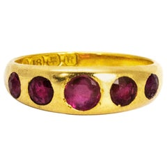 Vintage Ruby Five-Stone 18 Carat Gold Band