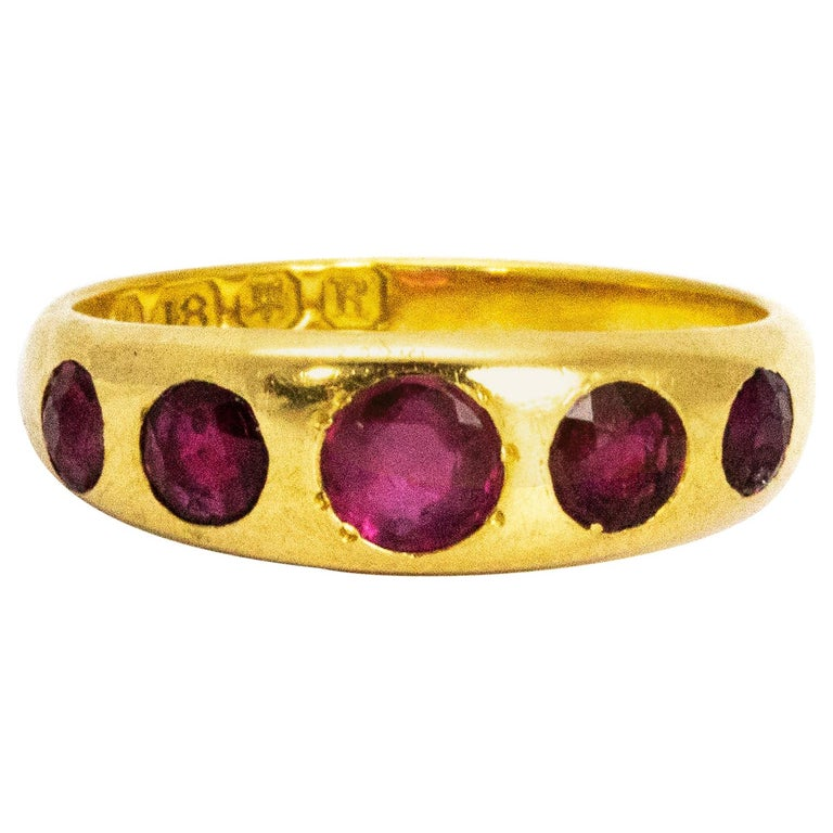 Vintage Ruby Five-Stone 18 Carat Gold Band For Sale
