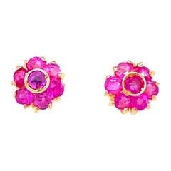Vintage Ruby Gold Cluster Stud Earrings