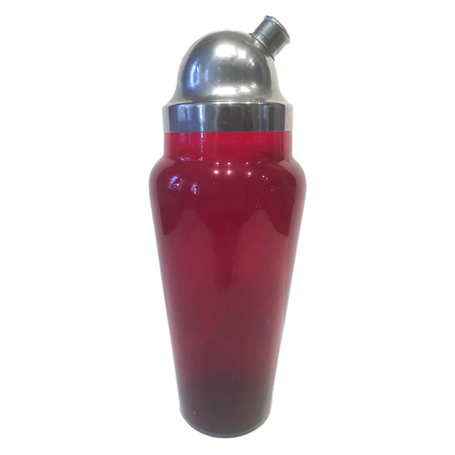 Vintage Ruby Red Glass Cocktail Shaker with Domed Chrome Lid