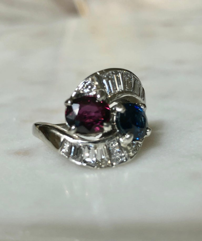 Vintage Ruby Sapphire Diamond Crossover Bypass Platinum Engagement Ring For Sale 6