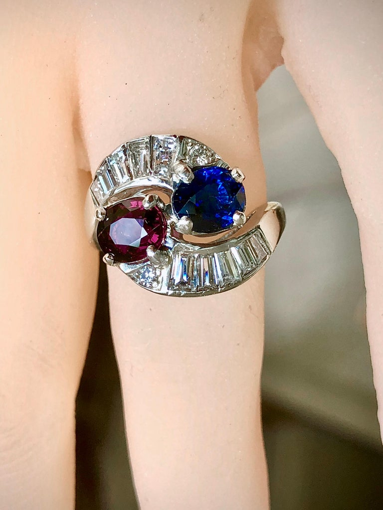 Vintage Ruby Sapphire Diamond Crossover Bypass Platinum Engagement Ring For Sale 7