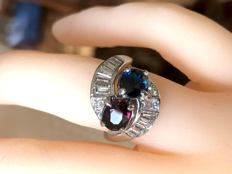 Vintage Ruby Sapphire Diamond Crossover Bypass Platinum Engagement Ring For Sale 9