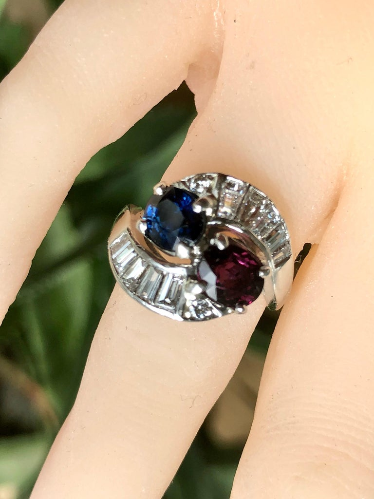 """A Stunning Antique Art Deco style Ruby, Sapphire and Diamond Crossover Bypass Ring, Jazz Age, """"Toi et Moi"""