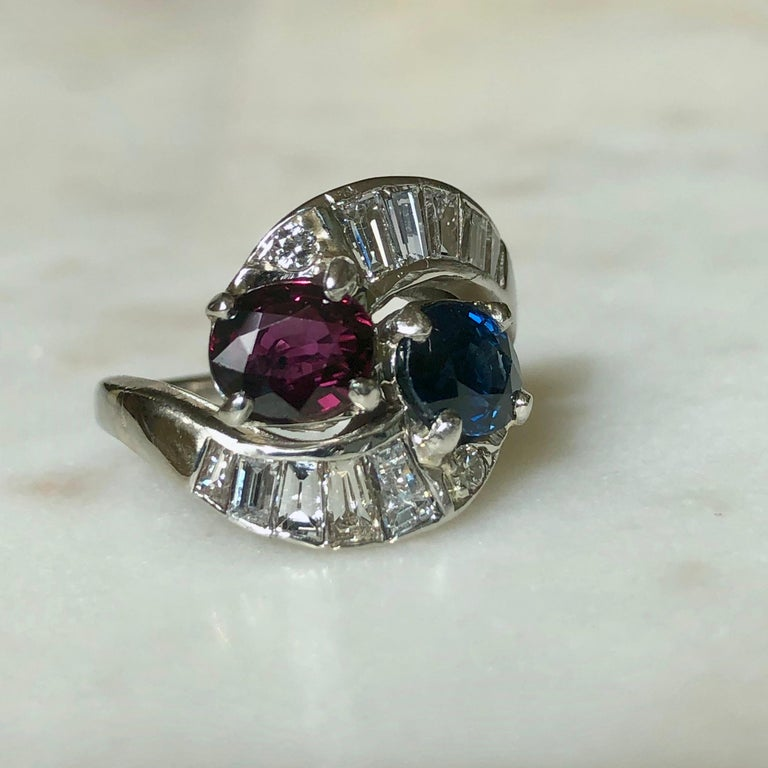 Art Deco Vintage Ruby Sapphire Diamond Crossover Bypass Platinum Engagement Ring For Sale