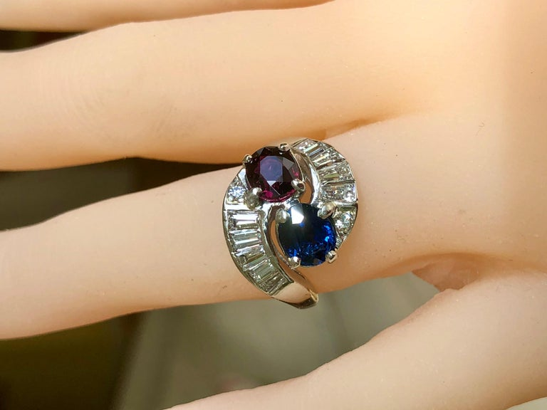 Vintage Ruby Sapphire Diamond Crossover Bypass Platinum Engagement Ring In Good Condition For Sale In Brunswick, ME