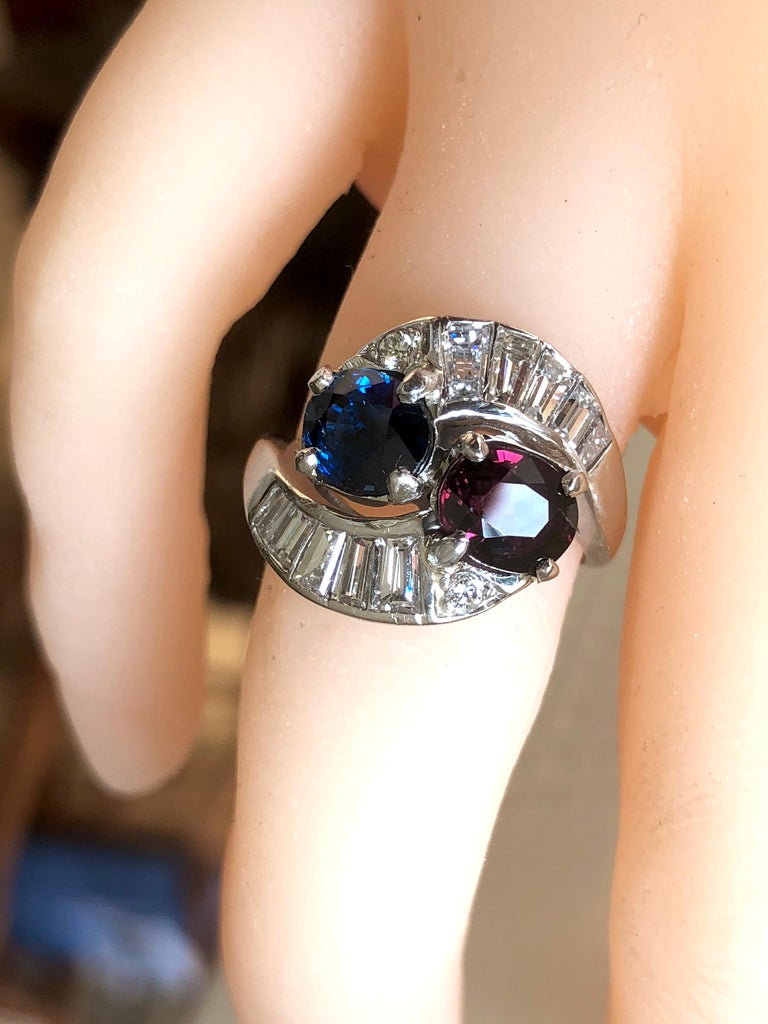 Women's Vintage Ruby Sapphire Diamond Crossover Bypass Platinum Engagement Ring For Sale