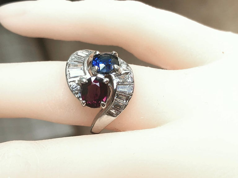 Vintage Ruby Sapphire Diamond Crossover Bypass Platinum Engagement Ring For Sale 4
