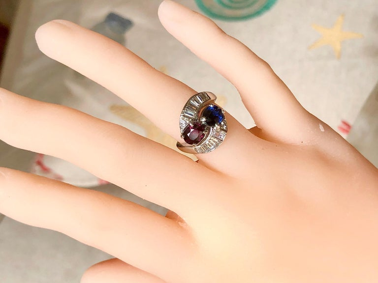 Vintage Ruby Sapphire Diamond Crossover Bypass Platinum Engagement Ring For Sale 5