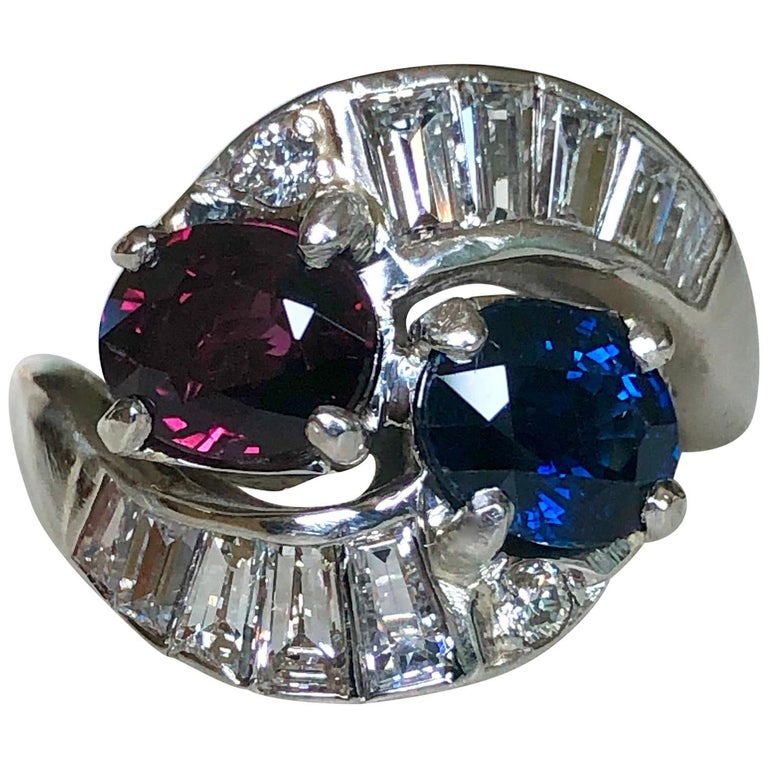 Vintage Ruby Sapphire Diamond Crossover Bypass Platinum Engagement Ring For Sale