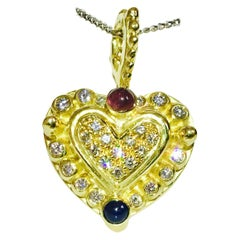 Vintage Ruby Sapphire Diamond Heart Shaped Pendant, 18 Karat Gold