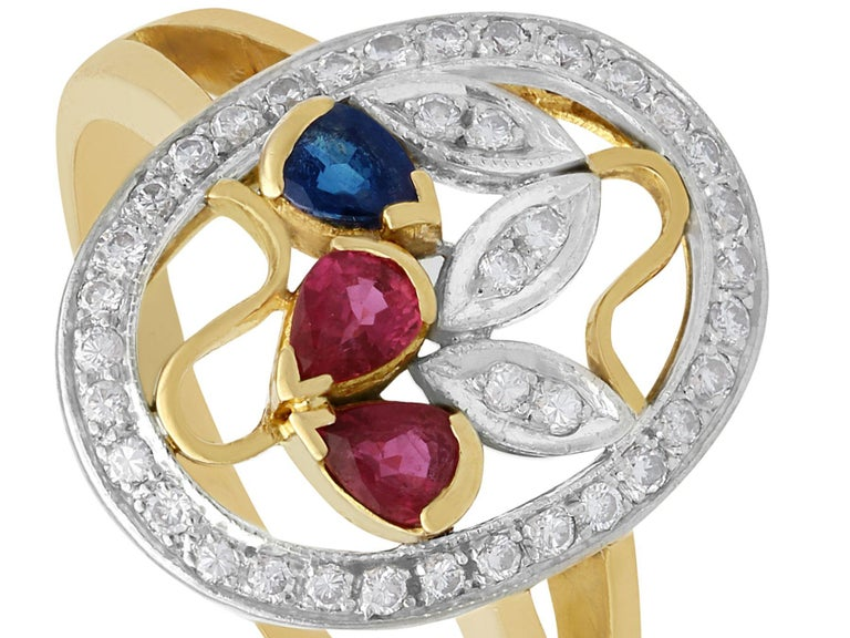 Pear Cut Ruby Sapphire Diamond Yellow Gold Cocktail Ring For Sale