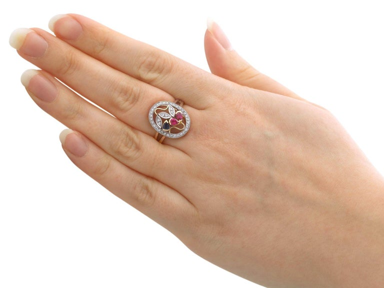 Ruby Sapphire Diamond Yellow Gold Cocktail Ring For Sale 1
