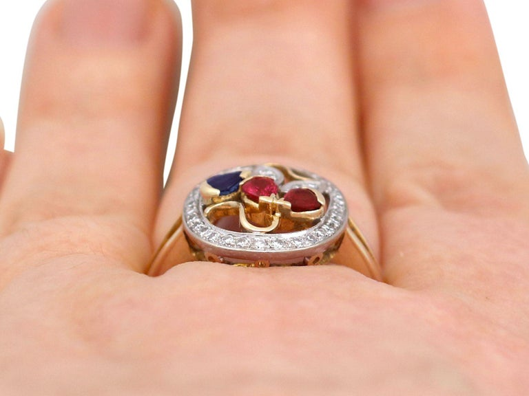 Ruby Sapphire Diamond Yellow Gold Cocktail Ring For Sale 3