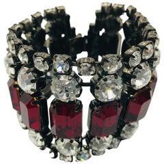 Vintage Ruby Swarovski and Clear Crystal Flex Cuff Bracelet