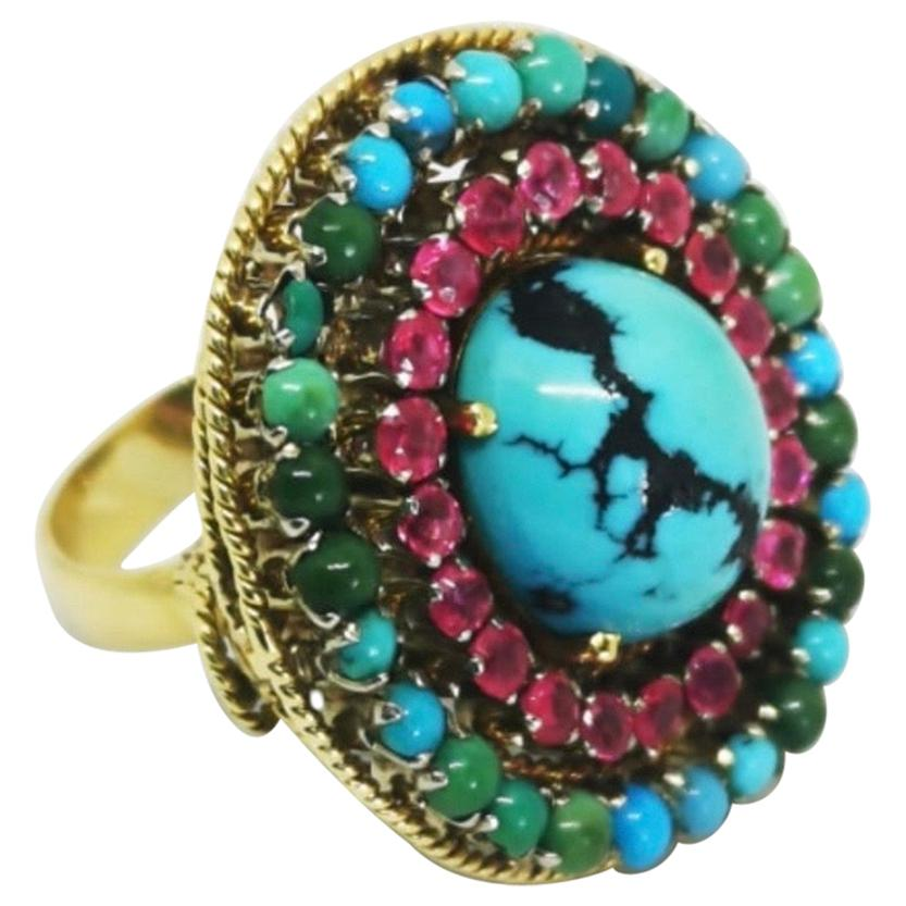 Vintage Ruby Turquoise Gold Cocktail Ring