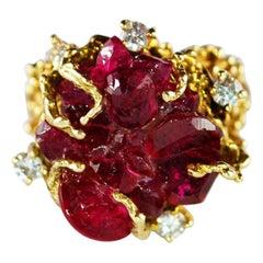 Vintage Ruby Type Crystal Chatham Ring 14 Karat Gold Freeform