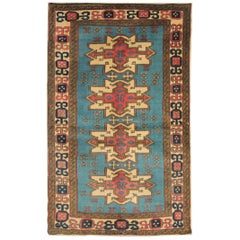 Vintage Rug Caucasian Blue Rug Handmade Carpet from Shirvan Area Rug