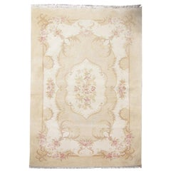Vintage Rug Cream Carpet Oriental Rugs, Art Deco Style Chinese Rugs for Sale