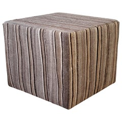 Pair of Vintage Rug Cube Ottoman in Warm Brown Tones
