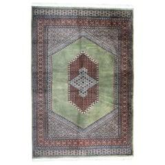 Vintage Rug Green Turkmen Bukhara, Hand-Knotted Wool Carpet