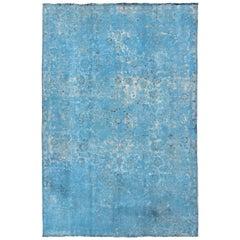 Vintage Rug in Modern Design in Shades of Blue