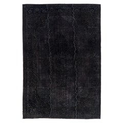 Vintage Rug Over-Dyed in Black Color, Great for Modern Interiors