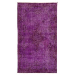 Vintage Rug Over-Dyed in Purple Color, Great for Contemporary Interiors