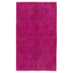 Vintage Rug Overdyed in Fuschia Pink Color