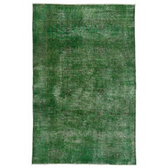 7.3x11 Ft Distressed Vintage Rug Overdyed in Green Color. Handmade Wool Carpet