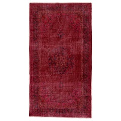 Vintage Rug Overdyed in Red Color - Wool Carpet for Modern Interiors  - 4x7.4 Ft