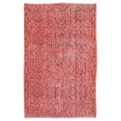 Vintage Rug Overdyed in Pink Color