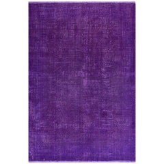 Vintage Rug Re-Dyed in Purple Color, Great for Contemporary Interiors