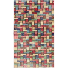 Vintage Rug with a Modern Design with Multi Colors in Square and Rectangular