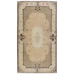 Vintage Rug with French Aubusson Design