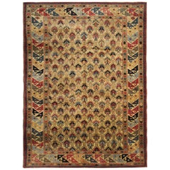 Vintage Rugs Caucasian Carpet Traditional Shirvan Cream Area Rugs for Sale