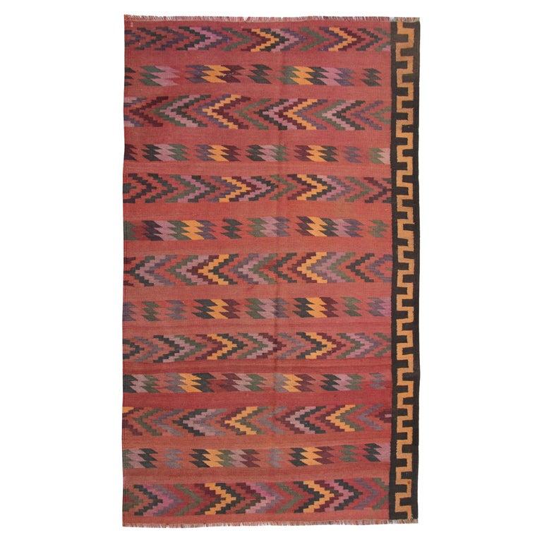Vintage Rugs Oriental Handmade Multicolored Kilim Rugs Turkish Carpet
