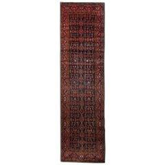 Vintage Rugs Handmade Wool Carpet Runner, Blue Oriental Runner Rug
